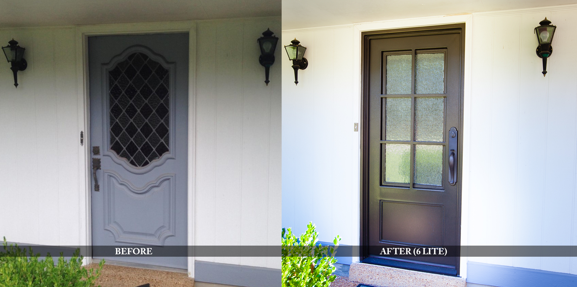Contemporary residential entry doors before and after comparison