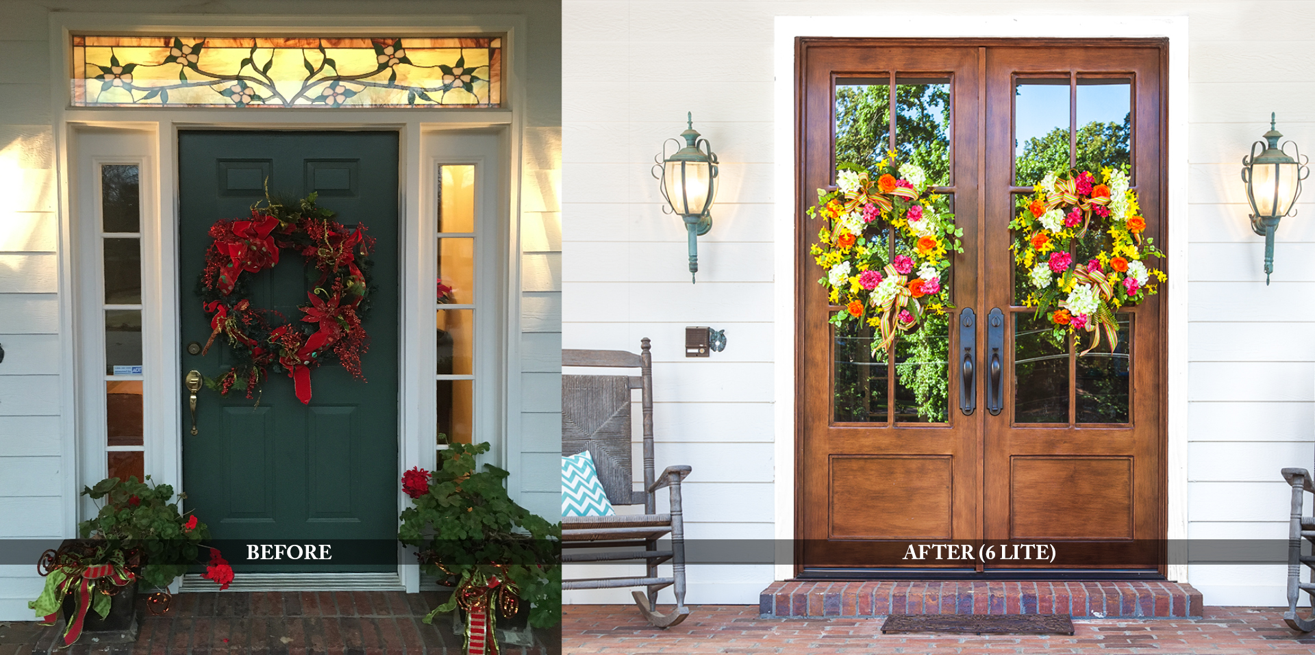 Famhouse residential entry doors before and after comparison