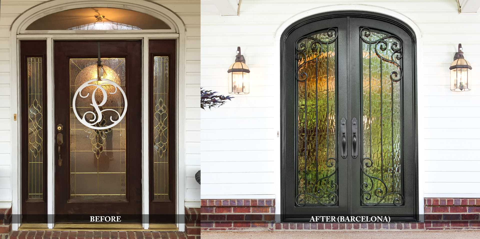 Beautiful residential entry doors before and after comparison