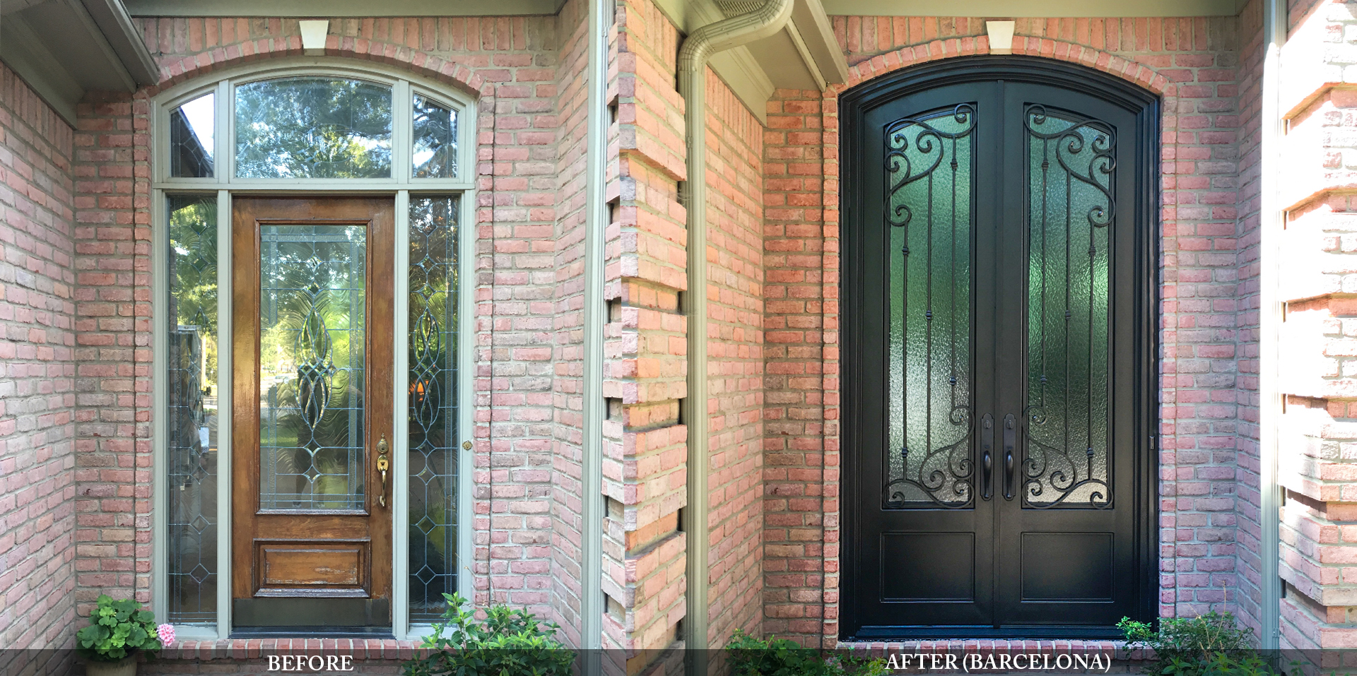 Traditional residential entry doors before and after comparison