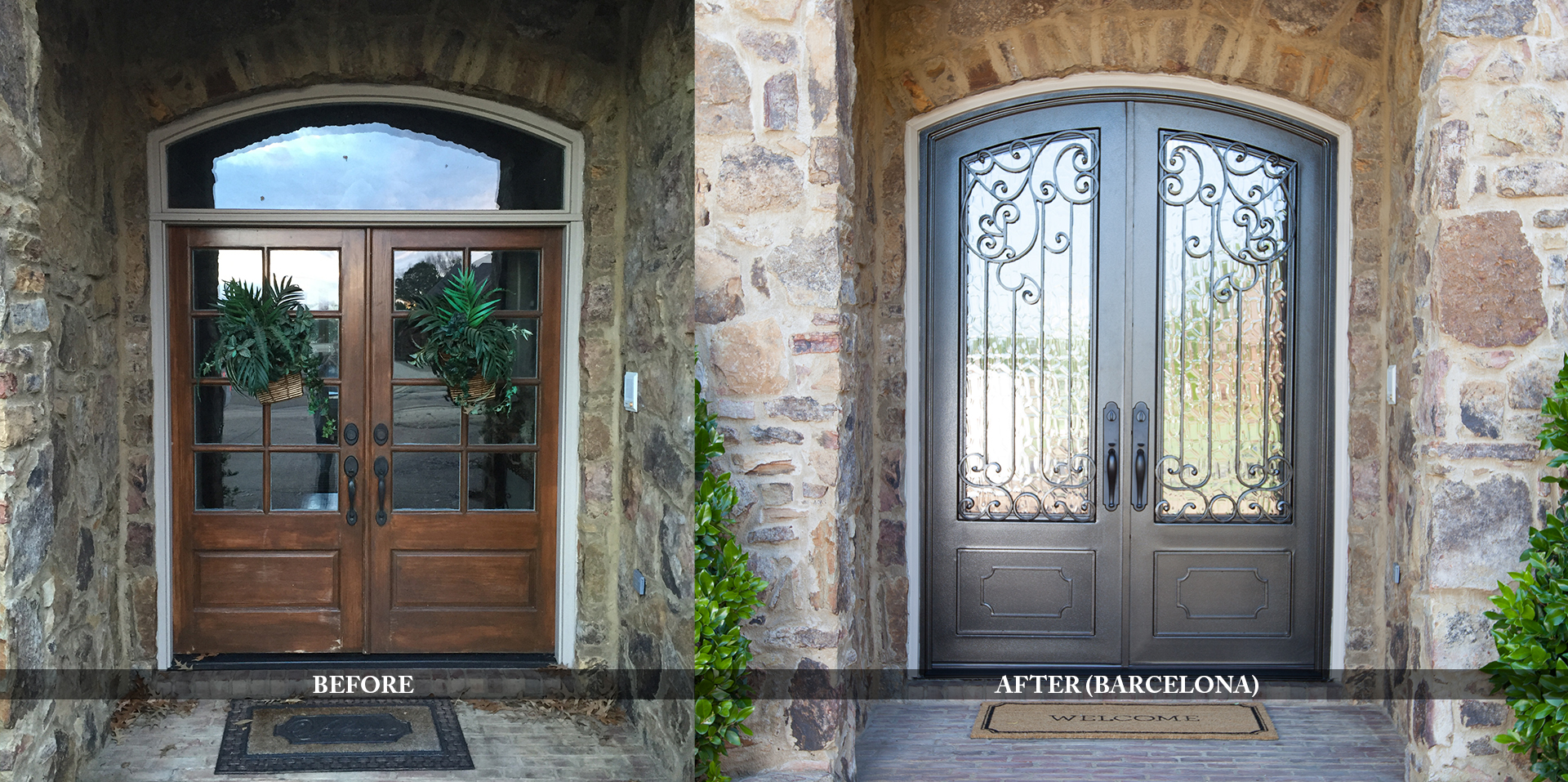 Upscale residential entry doors before and after comparison