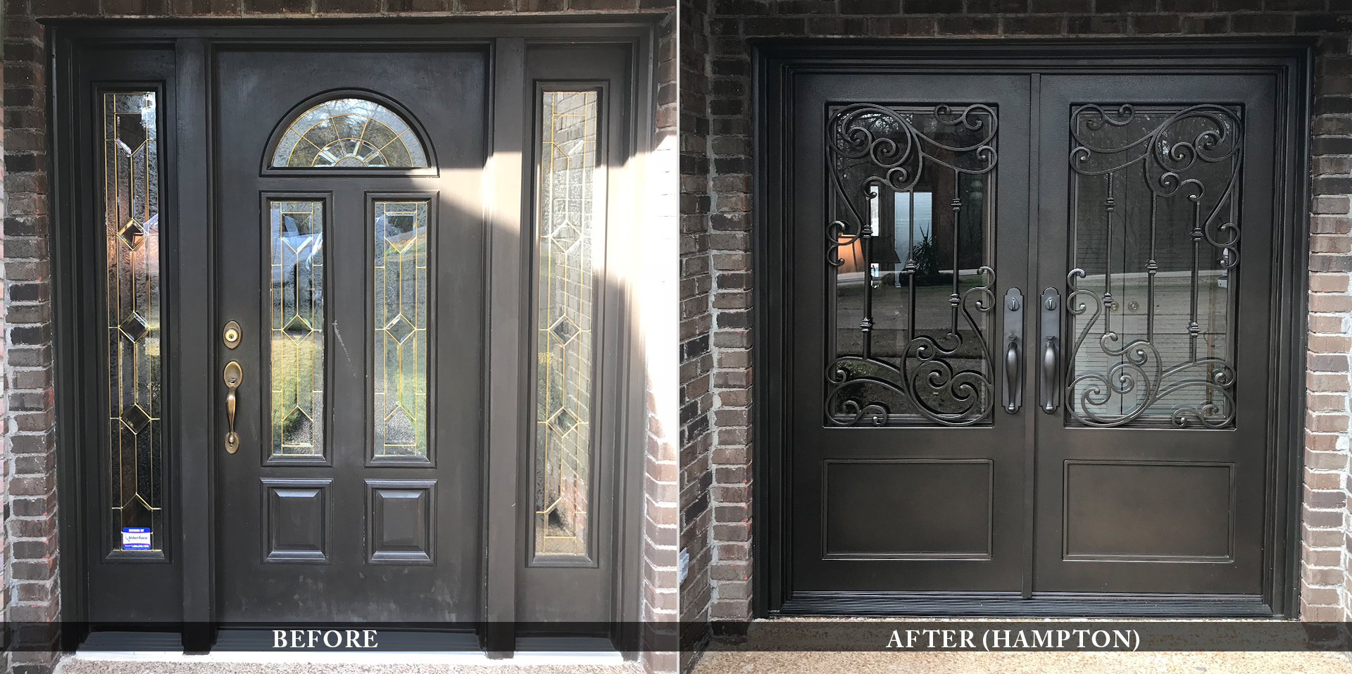 Elegant residential entry doors before and after comparison