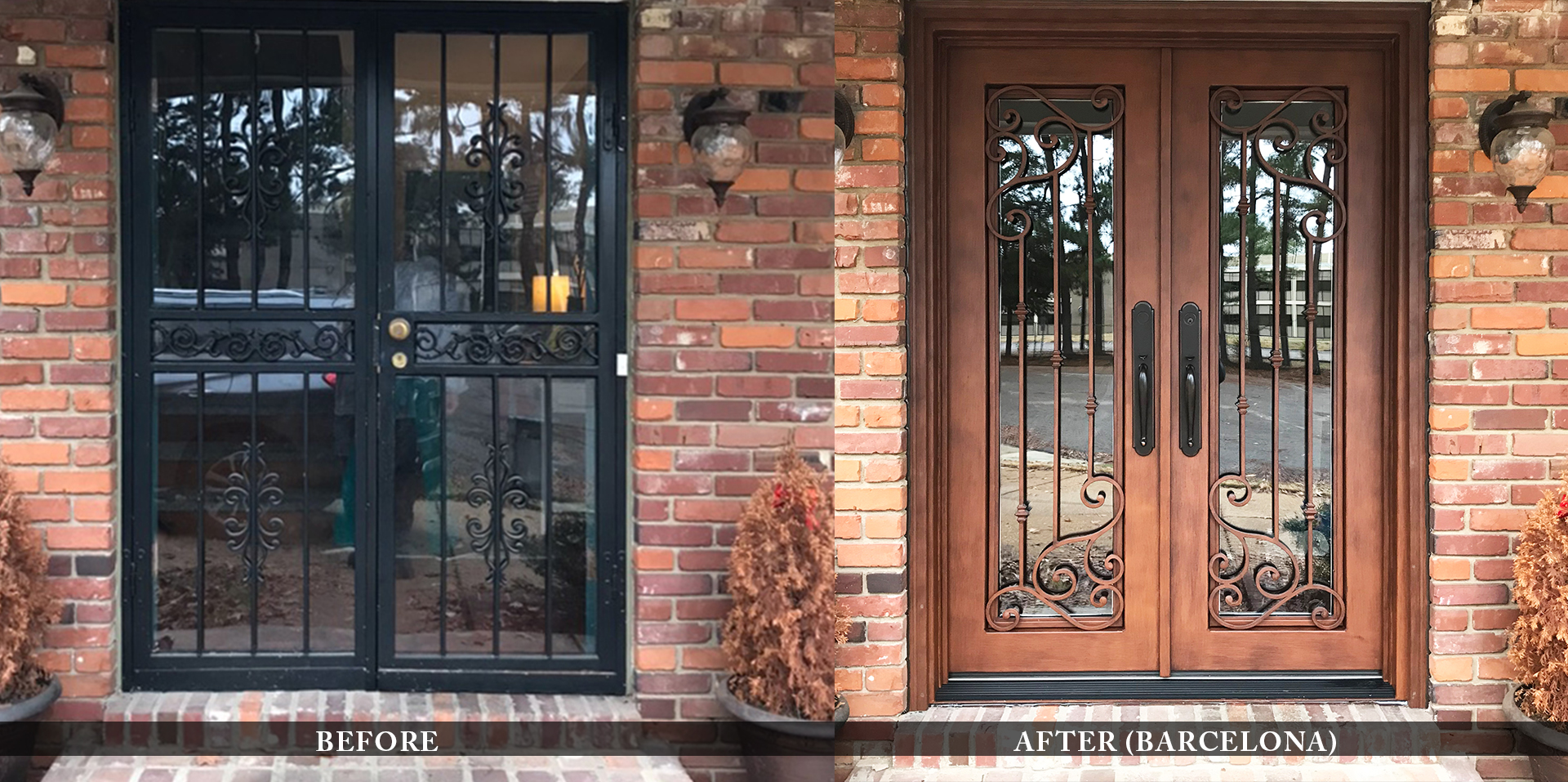 Custom residential entry doors before and after comparison